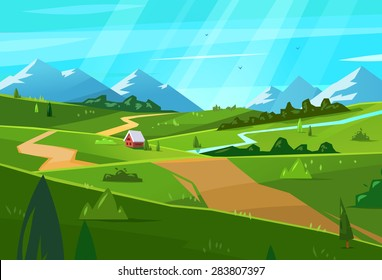 Vector design illustration for web design development, natural landscape graphics.