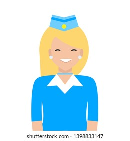 Vector design illustration white woman character.Stewardess Woman . Professional uniform. On a white background. Airport work
