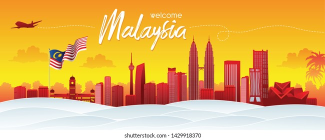 Vector design Ilustration of city of Kuala Lumpur and Malaysia flag. Malaysia Travel concept. Welcome to Malaysia.