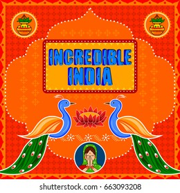 Vector design of Incredible India background in Indian Truck Art style