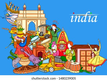 Vector design of Indian collage illustration showing culture, tradition and festival of India