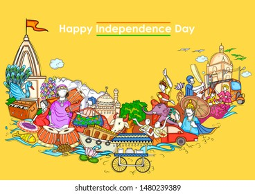 Vector design of Indian collage illustration showing culture, tradition and festival on Happy Independence Day of India