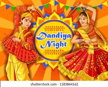 Vector design of Indian couple playing Garba in Dandiya Night Navratri Dussehra festival of India