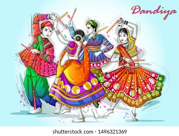 Vector design of Indian couple playing Garba in Dandiya Night Navratri Dussehra festival of India