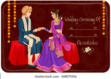 Vector design of Indian couple in wedding Engagement ceremony of India