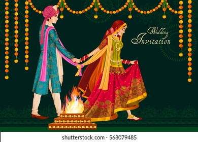 Vector design of Indian couple in wedding Satphera ceremony of India