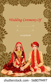 Vector design of Indian couple in wedding Kanyadan ceremony of India
