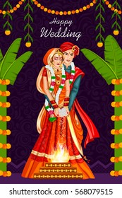 Vector design of Indian couple in wedding ceremony of India