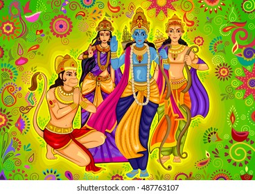 Vector design of Indian God Rama with Laxman and Sita for Dussehra festival celebration in India