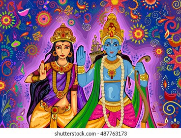 Vector design of Indian God Rama and Sita for Dussehra festival celebration in India