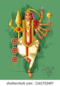 Vector design of Indian Goddess Durga sculpture for Durga Puja holiday festival of India in Dussehra Vijayadashami Navratri
