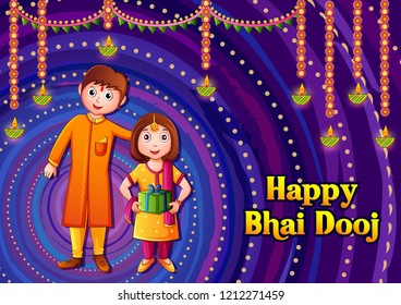 Vector design of Indian kids celebrating Happy Bhai Dooj on colorful art style background of India