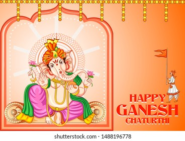 Vector design of Indian Lord Ganpati for Ganesh Chaturthi festival of India