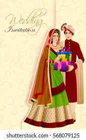 Vector design of Indian man couple with gift in wedding ceremony of India