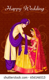 Vector design of Indian man tying Mangala Sutra to woman in wedding ceremony of India