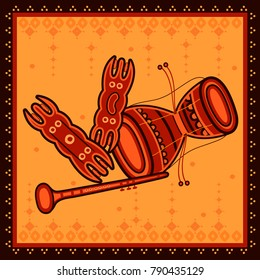 Vector design of Indian Music instrument in India desi folk art style