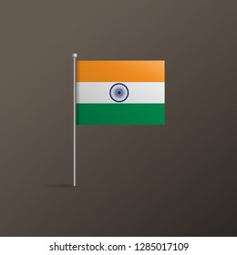 Vector design of Indian national flag on dark background. Small paper flag of India.