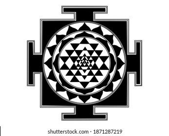 Vector design of Indian Shree Yantra (Sri chakra) in solid black