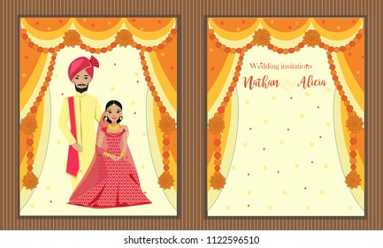 vector design of indian wedding couple in traditional dress on wedding invitation card.