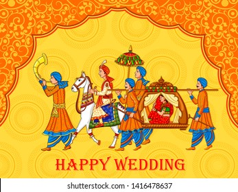 Vector design of Indian woman bride in wedding ceremony of India