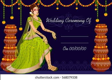 Vector design of Indian woman bride in wedding Mehandi ceremony of India