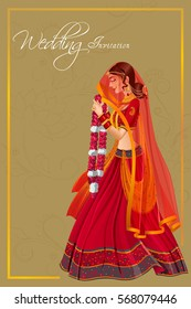 Vector design of Indian woman bride in Varmala wedding ceremony of India
