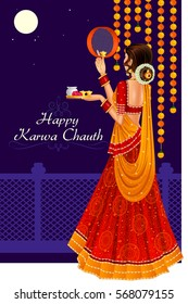 Vector design of Indian woman looking through sieve during Karva Chauth celebration