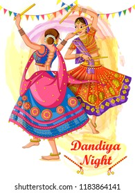Vector design of Indian woman playing Garba in Dandiya Night Navratri Dussehra festival of India