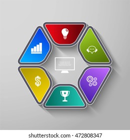 Vector design for infographic. Template for diagram, graph, presentation and round chart.