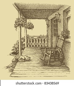 Vector design. Ink drawing comfortable rocking chairs on the veranda of a comfortable home surrounded by flowers
