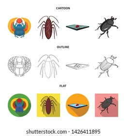 Vector design of insect and beetle icon. Collection of insect and halloween vector icon for stock.