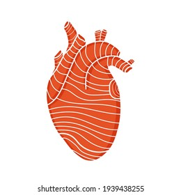 Vector design of isolated red human heart with lines. The concept of medicine. Heart shape with textured effect. Stock illustration for greeting card, world heart day, print on fabric, sticker.