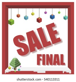 Vector design isometric 3d winter final sale banner with drop shadow effect
