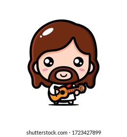 vector design of jesus playing ukulele