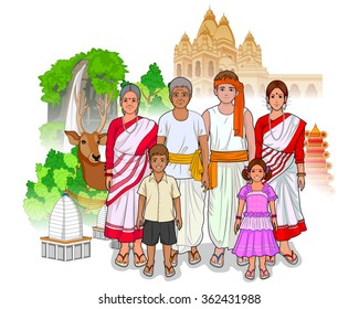 Vector design of Jharkhandi family showing culture of Jharkhand, India
