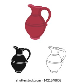Vector design of jug and clay logo. Set of jug and alcohol stock vector illustration.