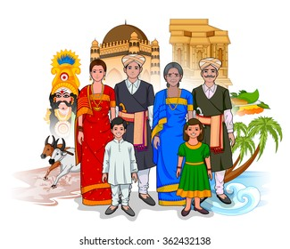 Vector design of Karnatakan family showing culture of Karnataka, India
