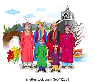 Vector design of Kashmiri family showing culture of Jammu and Kashmir, India