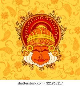 Vector design of kathakali dancer's face in Indian art style