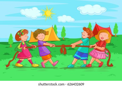 Vector design of kids playing and enjoying tug of war in summer vacation