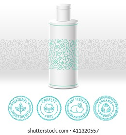 Vector design kit - set of design elements, logo design template, icons and badges for natural and organic cosmetics in trendy linear style - packaging template with label with floral pattern