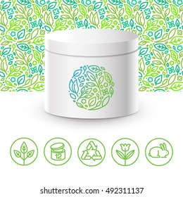 Vector design kit - set of design elements, logo design template, icons and badges for natural and organic cosmetics in trendy linear style - packaging template with seamless pattern with green leaves