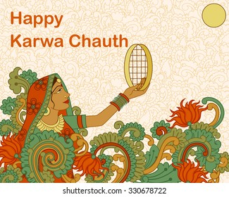 Vector design of Lady celebrating Karwa Chauth in Indian art style
