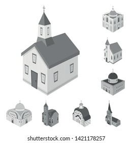 Vector design of landmark and clergy logo. Collection of landmark and religion vector icon for stock.