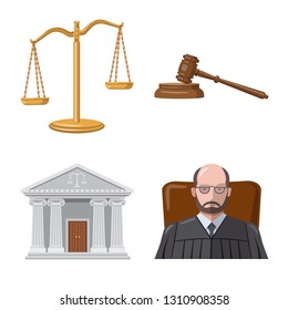 Vector design of law and lawyer logo. Collection of law and justice vector icon for stock.