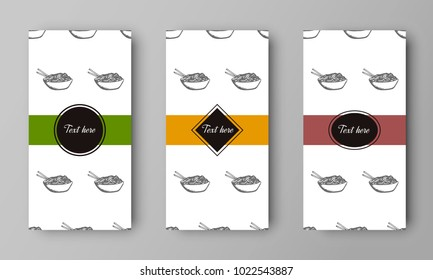 vector design of leaflet cover with print of plate with noodles