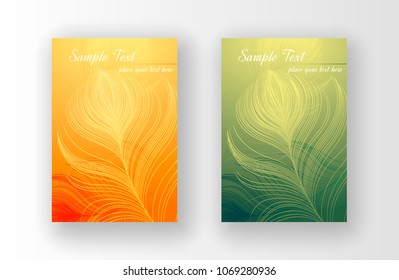 Vector design of leaflets with print of colorful peacock feathers