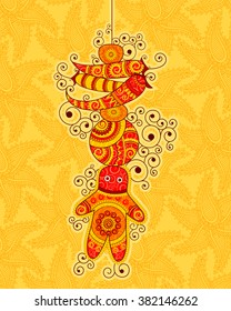 Vector design of lemon chilies hanging in Indian art style