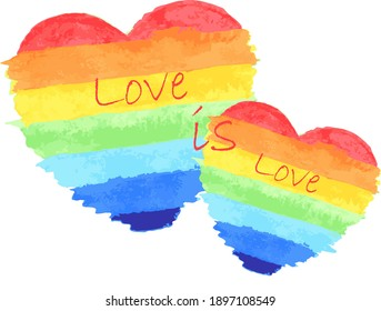 """Vector design. LGBT symbol.  Drawn heart with LGBT rainbow with the inscription """"Love is Love"""" on a  white background. Saint Valentine's Day."""
