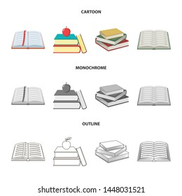 Vector design of library and textbook icon. Collection of library and school stock symbol for web.